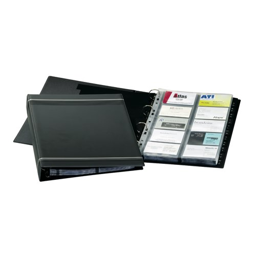 Durable Visifix Business Card Album 4-ring A-Z Index Capacity 400 A4 Dark Blue Ref 2388/58 Each