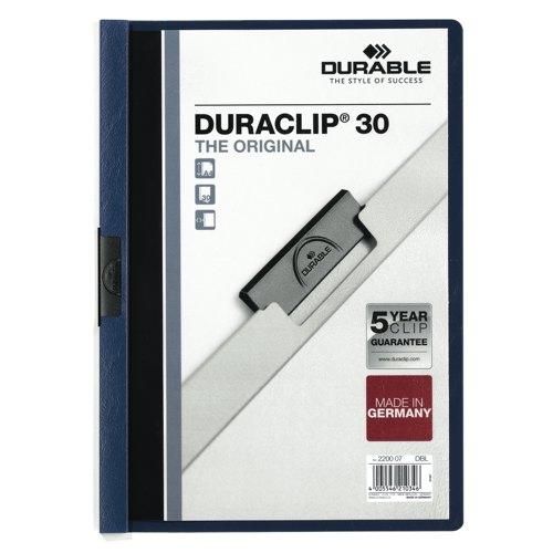 Durable Duraclip A4 Folder 3mm Dark Blue Ref 2200/07 Pack 25