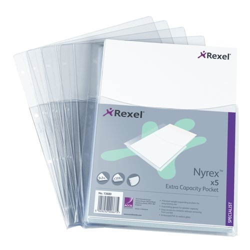 Rexel Nyrex Extra Capacity Multipunched Pocket With Gusset A4 Pack 5 Ref 13680