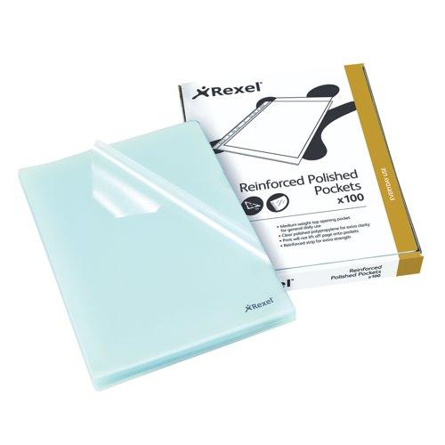 Rexel Nyrex Cut Flush Folder A4 Embossed Polypropylene Clear Box 100 Ref 12215