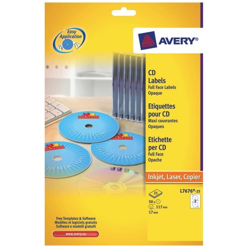 Avery CD/DVD Labels Laser 2 per Sheet Dia.117mm Glossy Black and White 50 Labels L7676-25 Pack 25