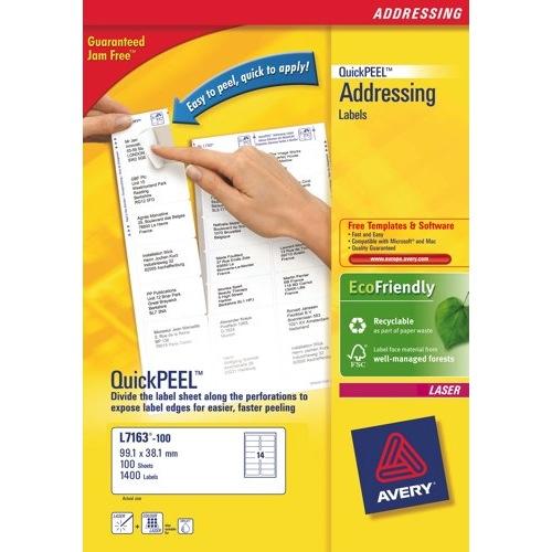 Avery Addressing Labels Laser Jam-free 21 per Sheet 63.5x38.1mm White FSC L7160-250 Box 250