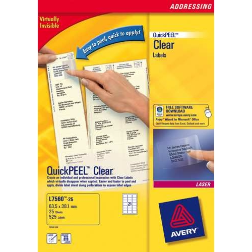 Avery Clear Addressing Labels Laser 21 per Sheet 63.5x38.1 Ref L7560-25 525 Labels L7560-25 Pack 25
