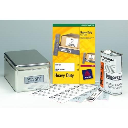 Avery Heavy Duty Laser Labels 99.1x139mm 4 Per Sheet White Ref L4774-20 Pack 20