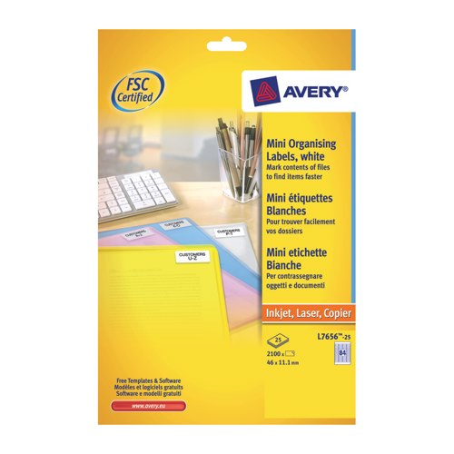 Avery Inkjet/Laser Labels For 35mm Slides 46x11 84 Per Sheet White 2100 Labels Ref L7656-25 Pack 25