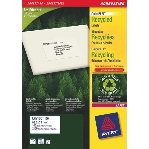 Avery Addressing Laser Labels Recycled 21 per Sheet 63.5x38.1mm White 2100 Labels LR7160-100 Box 100