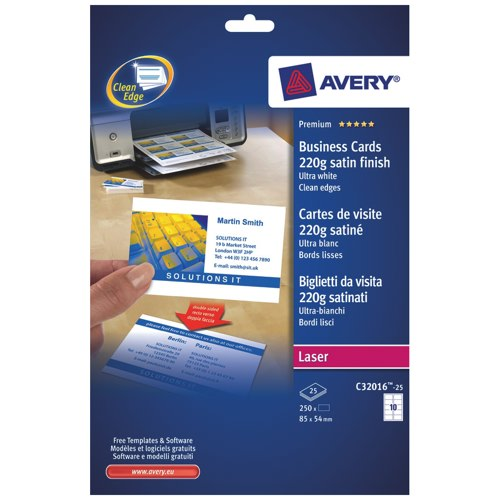 Avery Quick and Clean Laser Business Cards Ref C32016-25