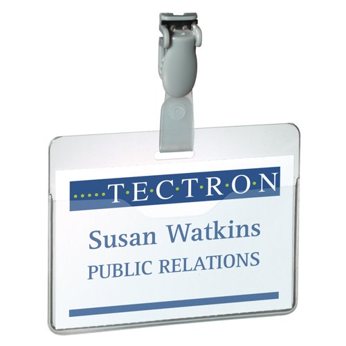Durable Clear 60x90mm Visitor Name Badges with Inserts Pack of 25