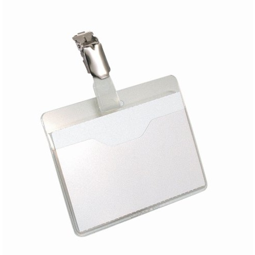 Durable Name Badges Visitors With Rotating Clip 60x90mm Clear Pack 25 Ref 8106