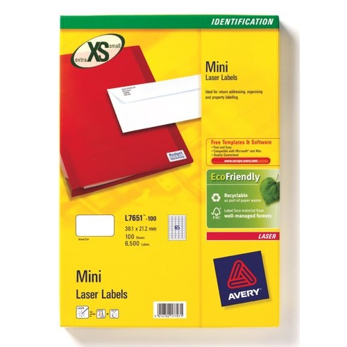 Avery Mini Laser Labels 65 Per Sheet 38.1x21.2mm White 6500 Labels FSC Ref L7651-100 Packed 100