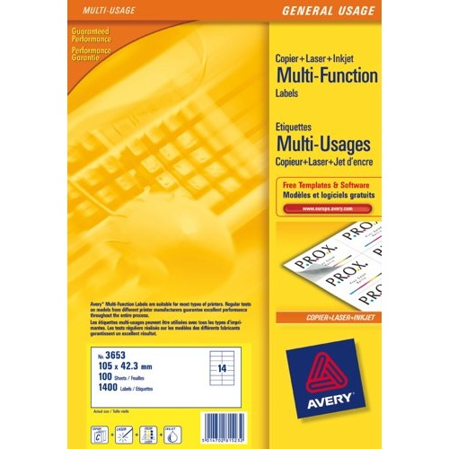 Avery Multifunction Copier Labels 14 per Sheet 105x42.3mm White Ref 3653 Box 100