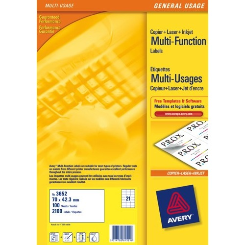 Avery Multifunction Copier Labels 21 per Sheet 70x42.3mm White Ref 3652 Pack 100
