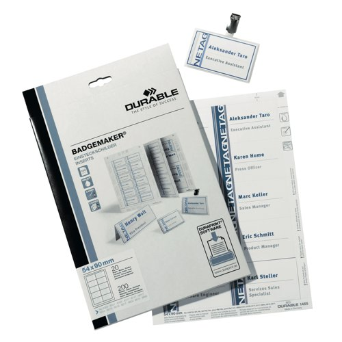 Durable Inserts for Duraprint Badgemaker Card 150gsm54x90mm Pack 200 Ref 1455/02