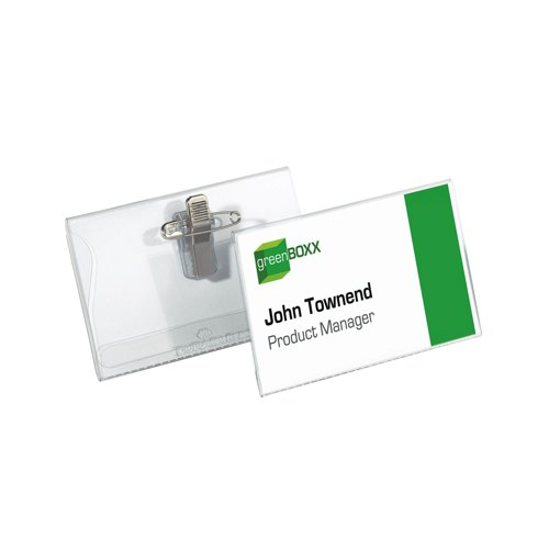 Durable 54x90mm Combi Clip Name Badges with Inserts Pack of 50