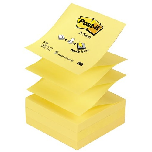 Post-it Z-Notes 76x76mm Canary Yellow Pack 12 Ref R330YE