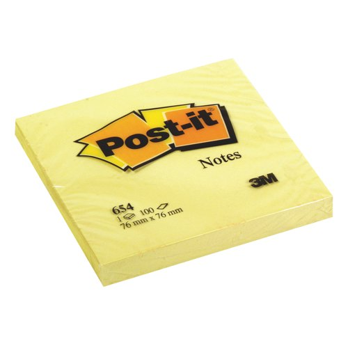 Post-it Recycled Notes 76x76mm Canary Yellow Pack 12 Ref 654-1YE