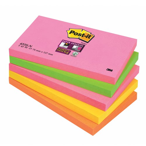 Post-it Super Sticky Notes 76x127mm Neon Rainbow Colours Ref 655-SN Pack 5