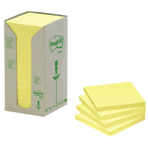 Post-it Notes Recycled Carton Of 654 Pastel Yellow Pads Ref 654-1T Pack 16