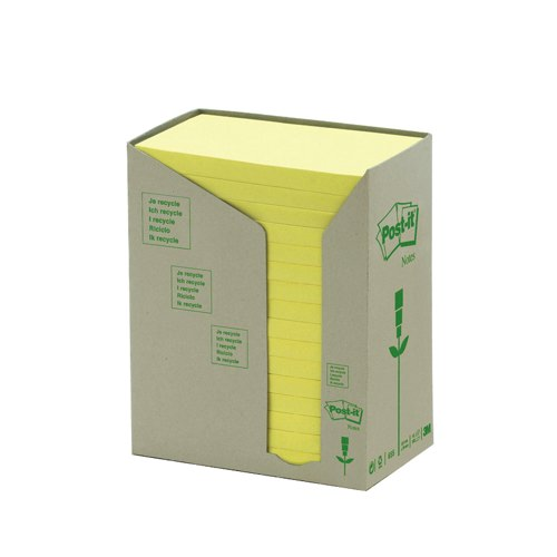 3M Post-it Notes Recycled Carton Of 655 Pastel Yellow Pads Ref 655-1T Pack 16
