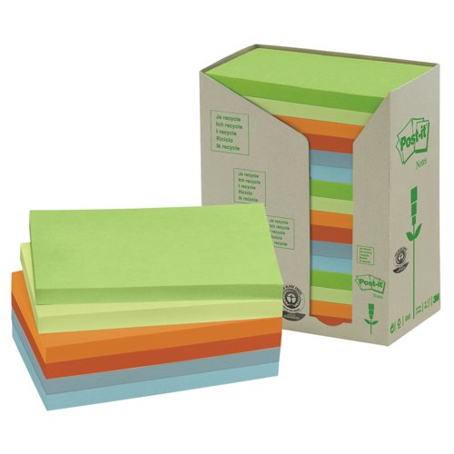 Post-it Notes Recycled Pastel Rainbow Pads Ref 655-1RPT Pack 16