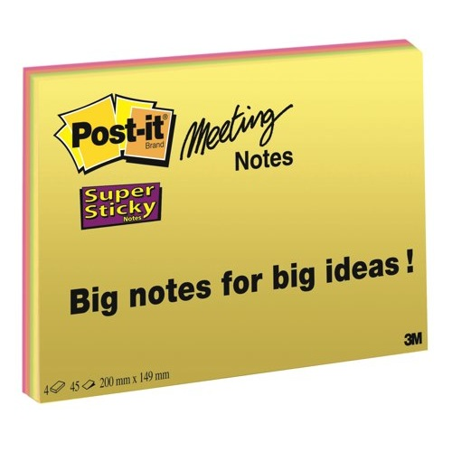 Post-it SuperSticky Meeting Notes 152x101mm Assorted Bright Colours Ref 6445-SSP Pack 4