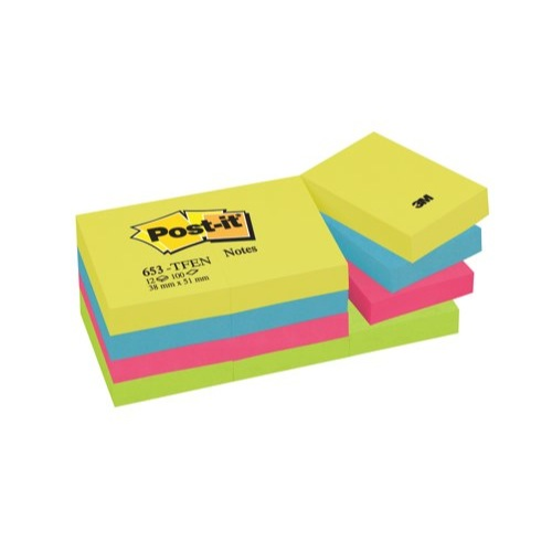 Post-it Colour Notes 38x51mm Energy Colours 653TF Pack 12