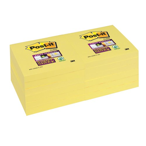 Post-it Notes Super Sticky 76x76mm Pad of 90 Sheets Canary Yellow Pack 12 Ref 654-12SSCY