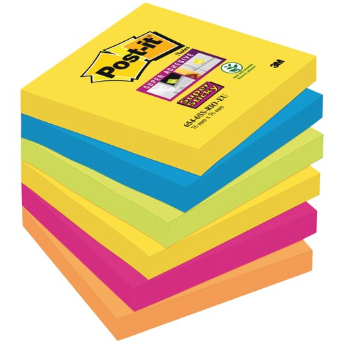 Post-it Rio Colour SuperSticky Notes 76x76mm Packed 6 Assorted Ref 654-6SS-RIO