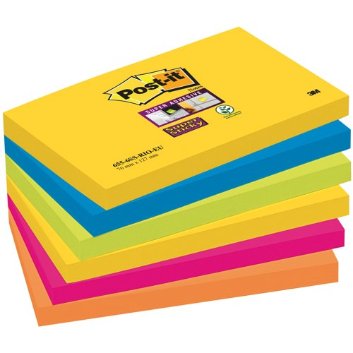 Post-it Rio Colour SuperSticky Notes 76x127mm Packed 6 Assorted Ref 655-6SS-RIO