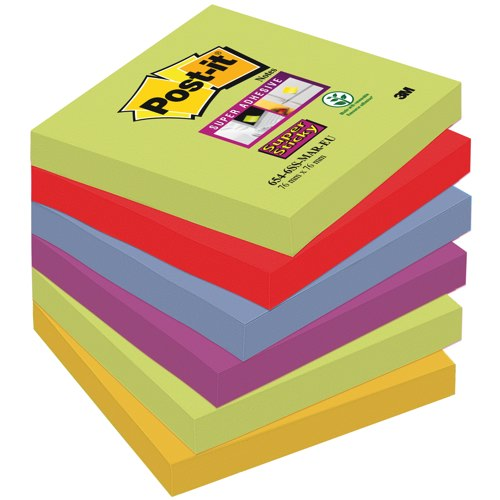 Post-it Marrakesh Colour SuperSticky Notes 76x76mm Pack 6 Pads Assorted Ref 654-6SS-MAR