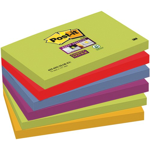 Post-it Marrakesh Colour SuperSticky Notes 76x127mm Packed 6 Assorted Ref 655-6SS-MAR