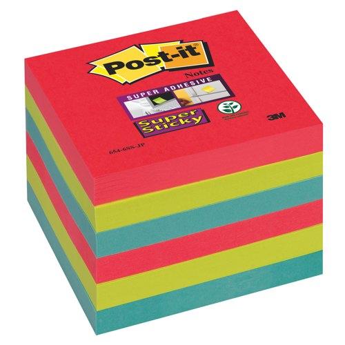 Post-it Super Sticky 76mmx76mm 90 Sheet Pad Jewel Pop 654-6SS-JP