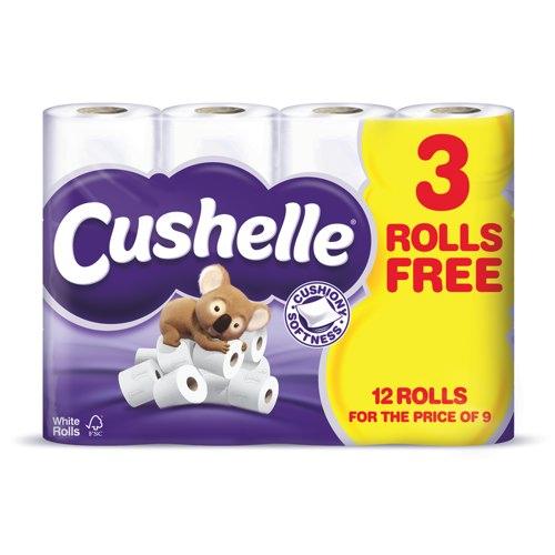 Cushelle White 2 Ply Toilet Roll Pack of 12