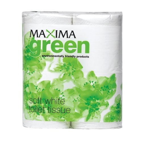 Maxima Green Toilet Roll Recycled 2-Ply WhitecRef KMAX200G