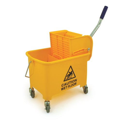Yellow 15L Mobile Mop Bucket and Wringer REF KS15YL