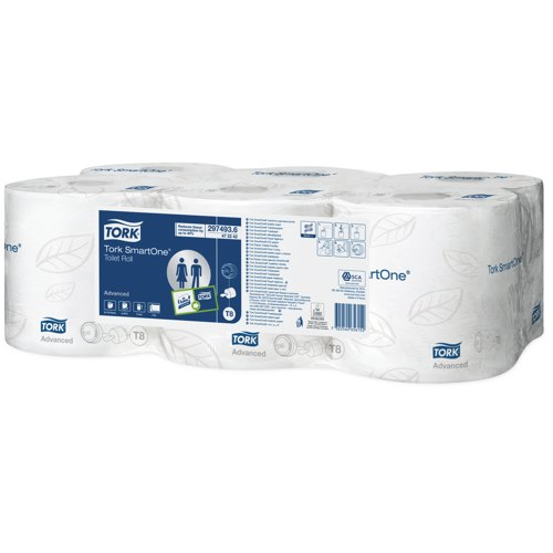 Tork SmartOne Toilet Rolls 2 Ply 1150 Sheets 200m White (Pack of 6) Ref 472242