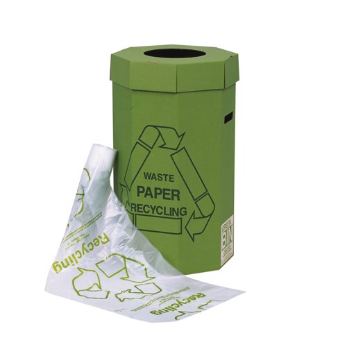 Acorn Green Cardboard Waste Paper Recycling Bin 60 Litre (Pack of 5) Ref 402565
