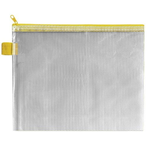 Strong Mesh Reinforced PVC Wallet A5. Yellow Cloth Zip and Hang Tab. Pack of 5. Ref: ZIPPER YELLOW