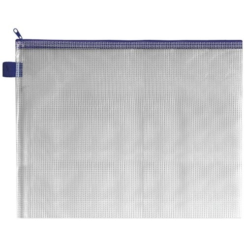 Strong Mesh Reinforced PVC Wallet A4. Blue Cloth Zip and Hang Tab. Pack of 5. Ref: ZIPPER BLUE