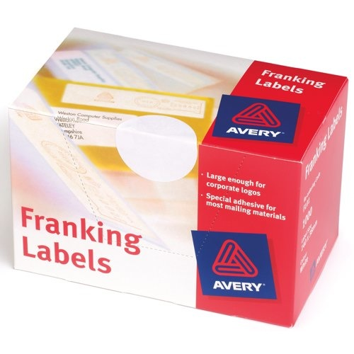 Avery Franking Labels 140x38mm Hand Feed Machines 2 Per Sheet White 1000 Labels Ref FL01 Box 1000
