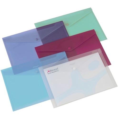 Rexel Popper Wallet A4 Polypropylene Assorted Colours Pack 6 Ref 16129AS