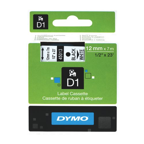 Dymo Black on White 12mmx7m Label Tape