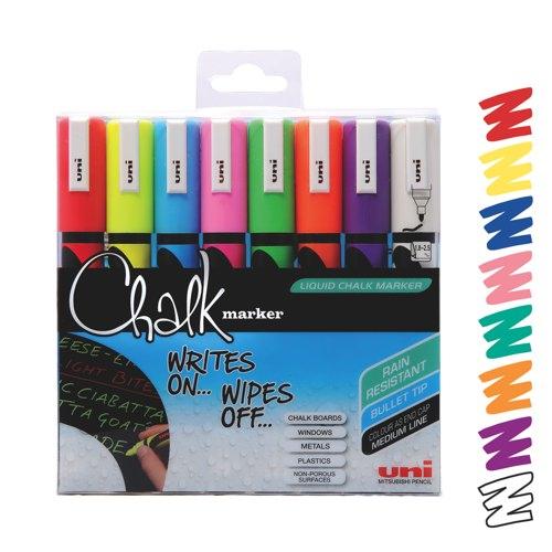 uni Chalk Marker Medium Tip Assorted Colours PWE-5M Ref 153494341