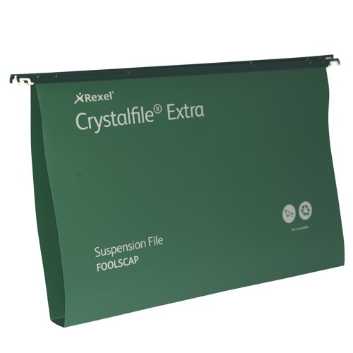 Rexel Crystalfile Extra Polyprop Suspension File Foolscap 30mm Capacity Green Box 25 Ref 70631