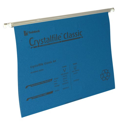 Rexel Crystalfile Suspension File A4 Blue With Tabs/Inserts V-Base Box 50 Ref 78160