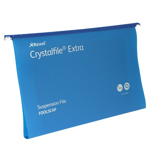 Rexel Crystalfile Extra Polyprop Suspension File Foolscap 30mm Capacity Blue Box 25 Ref 70633