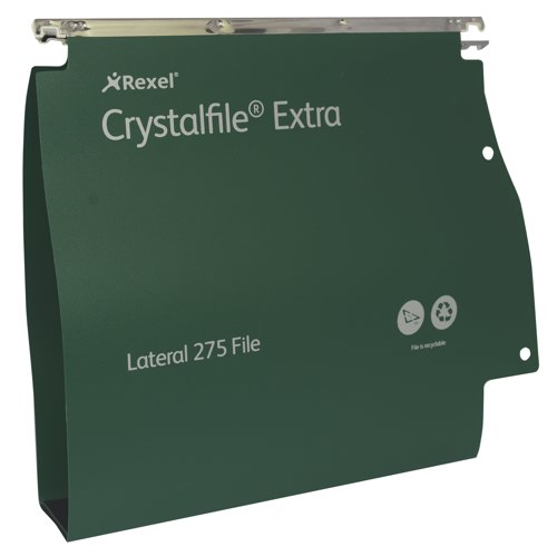 Twinlock Crystalfile Extra Polyprop Lateral File A4 50mm Capacity Green Box 25 Ref 71763