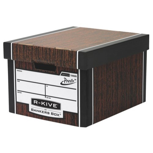 Fellowes R-Kive Premium Classic Storage Box Woodgrain Original Size 330x381x254mm Ref 7250501