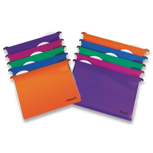 Rexel Multifile Extra Foolscap Secura Suspension File 30mm Assorted Colours Pack 10 Ref 2102574