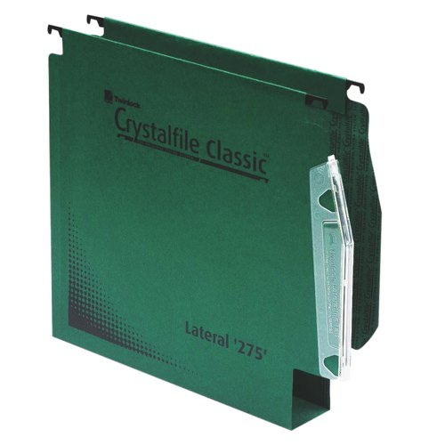 Twinlock Crystalfile Lateral File 30mm Capacity with Tabs & Inserts Green Pack 50 Ref 78654